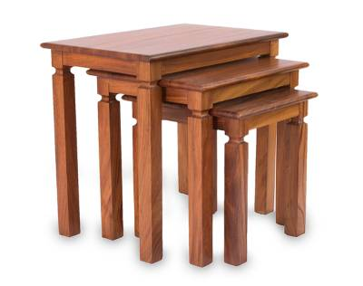 Parota wood nesting tables, 'Hacienda' (set of 3) - Parota wood nesting tables (Set of 3)