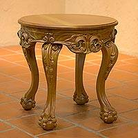 Cedar wood circular accent table, 'Mexican Renaissance' - Cedar wood circular accent table