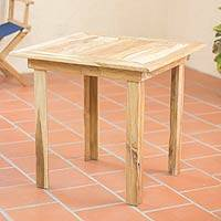 Teakwood square accent table, Mexican Sierra