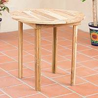 Teakwood round accent table, 'Mexican Sierra' - Teakwood round accent table