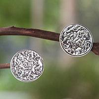 Sterling silver button earrings, 'Taxco Melody'