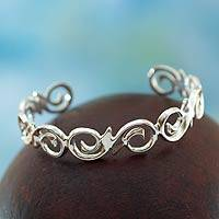 Sterling silver cuff bracelet, 'Soulful' - Modern Sterling Silver Cuff Bracelet