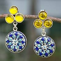Sterling silver and ceramic dangle earrings, 'Blue Sun' - Ceramic Dangle Earrings with Silver