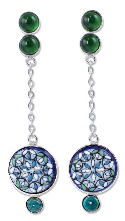 Sterling silver and ceramic dangle earrings
