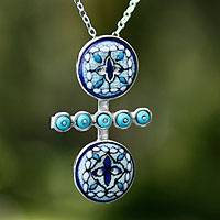 Sterling silver and ceramic pendant necklace, 'Light of Peace' - Sterling silver and ceramic pendant necklace