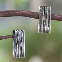 Sterling silver drop earrings, 'Urban Taxco' - Fair Trade Modern Sterling Silver Drop Earrings Mexico