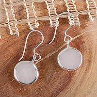 Sterling silver dangle earrings, 'Luminous Moons' - Mexican Sterling Silver Taxco Earrings