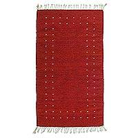 Zapotec wool rug, 'Fire in the Sky' (2.5x5) - Modern Red Zapotec Rug (2.5x5)