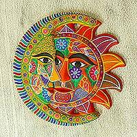 Ceramic eclipse, 'Marigold Autumn' - Yellow Hand Painted Sun and Moon Eclipse Ceramic Wall Art