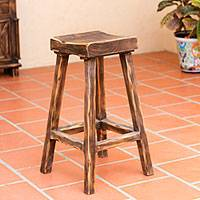 Wood stool, 'Vintage Brown Ranch' - Hand Crafted Wood Stool