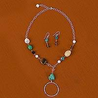Cultured pearl and quartz jewelry set,