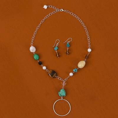 Multi-gemstone jewelry set, 'Gemstone Harmony' - Multi-Gemstone Jewelry Set Handcrafted with Mexican Silver