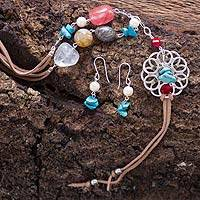 Cultured pearl and smoky quartz jewelry set, 'Chapala Bloom' - Handcrafted Pearl & Gemstone 925 Silver Jewelry Set