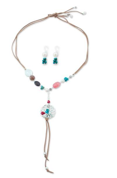 Handcrafted Pearl & Gemstone 925 Silver Jewelry Set