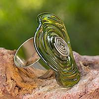 Dichroic art glass ring, 'Circle of Life' - Hand Crafted Modern Art Glass Cocktail Ring