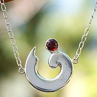 Garnet pendant necklace, 'Aries in Red' - Garnet pendant necklace