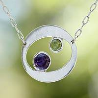 Amethyst and peridot pendant necklace, 'Drifters' - Fair Trade Amethyst and Peridot Necklace