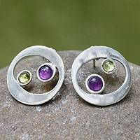 Amethyst and peridot button earrings, 'Drifters' - Unique Sterling Silver Amethyst and Peridot Earrings