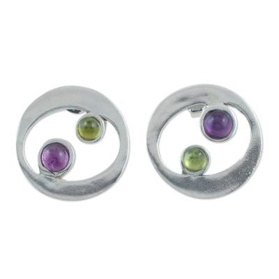 Unique Sterling Silver Amethyst and Peridot Button Earrings