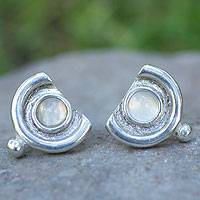 Moonstone button earrings, 'Song of Light' - Handcrafted Sterling Silver Button Moonstone Earrings