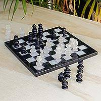 Onyx and marble chess set, 'Triumph' - Handcrafted Onyx and Marble Mexican Chess Set