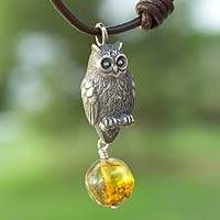 Amber pendant necklace, 'Intuitive Owl' - Amber Pendant Necklace with Sterling Silver