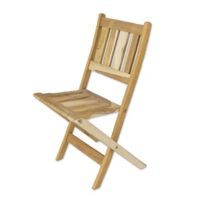 Teak wood folding chair, 'Mexican Sierra' - Teak Wood folding chair