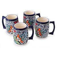 Ceramic beer mugs, 'Floral Fiesta' (set of 4) - Handcrafted Talavera Style White and Blue Beer Mugs