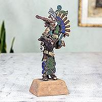 Ceramic sculpture, 'Aztlan Warrior' - Handmade Mexican Aztec Ceramic Sculpture
