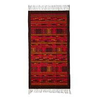 Zapotec wool rug, 'Geometry of Fire' (2.5x5)
