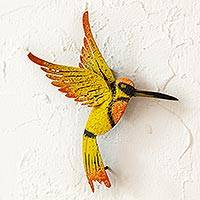 Iron wall sculpture, 'Little Yellow Hummingbird' - Hand Crafted Bird Wall Art Steel Sculpture from Mexico