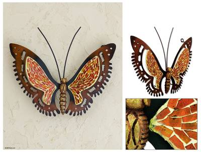 Iron wall sculpture, 'Golden Sunshine Butterfly' - Mexican Glass Mosaic Butterfly Orange Steel Wall Sculpture