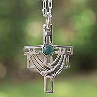 Turquoise cross necklace, 'Resurrection' (Mexico)