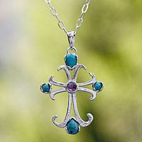 Turquoise and amethyst cross necklace, 'Belief' - Amethyst and Sterling Silver Turquoise Cross Necklace Mexico