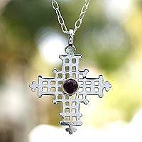 Amethyst pendant necklace, 'Spirit of the Cross' - Amethyst pendant necklace