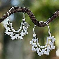 Sterling silver hoop earrings, 'Magical Mitla' - Collectible Sterling Silver Hoop Earrings
