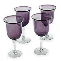 Blown glass goblets, 'Amethyst Tulip' (set of 4) - Recycled Glass Water Goblets Purple (Set of 4)