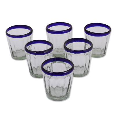 Juice glasses, 'Short Cobalt Groove' (set of 6) - Hand Blown Juice Glasses Set of 6 Blue Rim Mexico