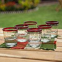 Juice glasses, 'Short Ruby Groove' (set of 6) - Artisan Crafted Handblown Recycled Clear and Red Juice Glass