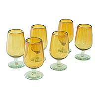Blown glass goblets, 'Mexican Amber' (set of 6) - Mexican Handblown Recycled Glass Cordial Drinkware Set of 6