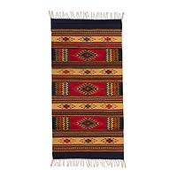 Zapotec wool rug, 'Valley of the Stars' (2.5x5) - Artisan Crafted Zapotec Rug (2.5x5)