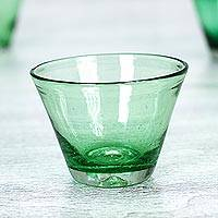 Juice glasses, 'Jade Flair' (set of 6) - Handblown Glass Recycled Green Juice Drinkware (Set of 6)