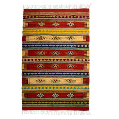 Zapotec wool rug, Sunshine Constellation (6.5x10)