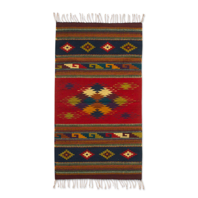 Handmade Wool Rug Zapotec 2.5 X 5 Ft