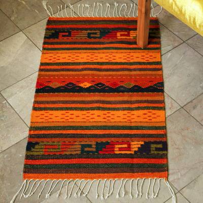 Zapotec wool rug, 'Stairway to the Sky' (2x3.5) - Zapotec Wool Striped Area Rug (2x3.5)