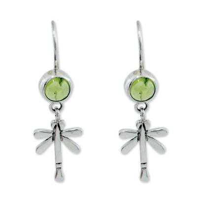 Peridot Handmade Sterling Silver Dangle Earrings