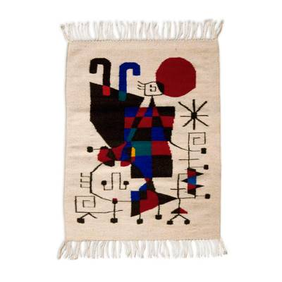 Wool rug, 'Tribute to Joan Miro' (2x3) - Wool rug (2x3)