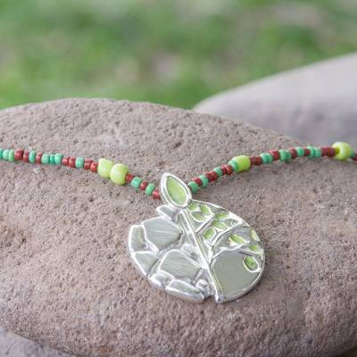 Sterling silver pendant necklace, 'Maya Tree of Life' - Hand Made Sterling Silver and Glass Bead Necklace