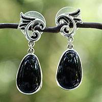 Obsidian dangle earrings, 'Taxco Splendor' - Obsidian dangle earrings