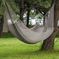 Hammock, 'Silver Moon' (double) - Hand Crafted Maya Silver grey Washable Double Hammock with H